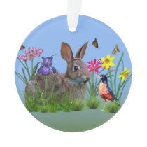Spring Flowers, Robin,  and Bunny Rabbit Ornament
