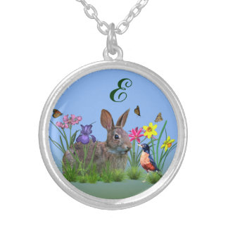 Spring Flowers, Robin,  and Bunny Rabbit Silver Plated Necklace