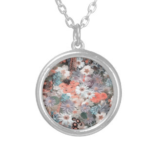 spring flowers, round pendant necklace