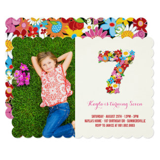 Spring Flowers Seven Cute Girl 7th Birthday Invite