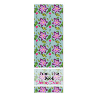 Spring Flowers, Skinny Card Bookmark Double-Sided Mini Business Cards (Pack Of 20)