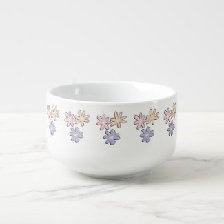 Spring Flowers Soup Bowl With Handle