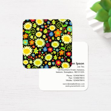 Professional Business Spring Flowers Square Business Card