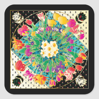 Spring Flowers Square Sticker