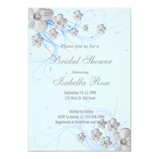 Spring flowers swirls bridal shower invitations