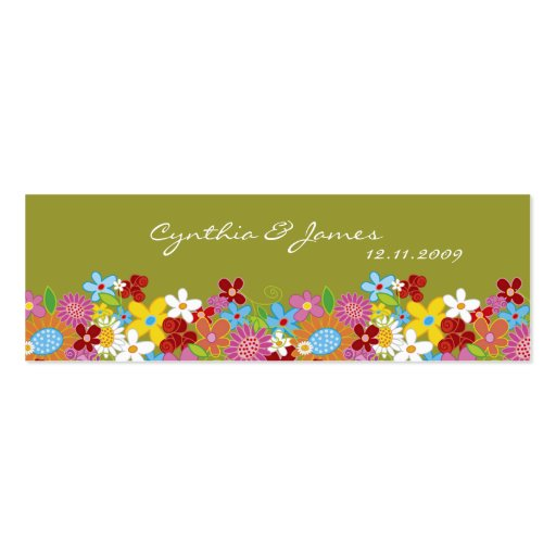 Spring Flowers Thank You / Gift Tag / Announcement Double-Sided Mini Business Cards (Pack Of 20)
