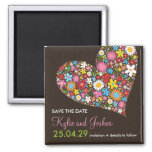 Spring Flowers Valentine Heart Save The Date 2 Inch Square Magnet