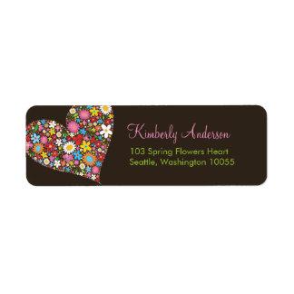 Spring Flowers Valentine Heart Wedding Address La Label