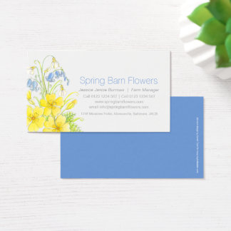 spring flowers watercolor art business cards