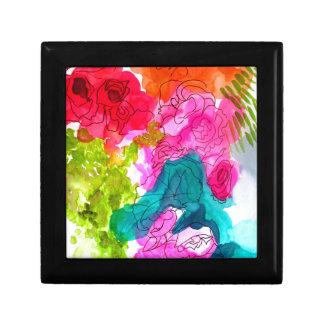 Spring Flowers watercolour abstract art Keepsake Box