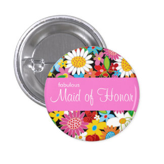 Spring Flowers Wedding Chic Maid Of Honor Name Tag Button
