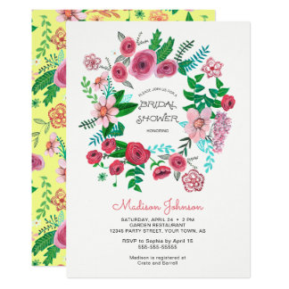 Spring Flowers Wreath | Bridal Shower | Invitation