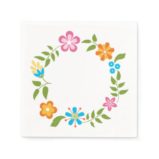 Spring Flowers Wreath Paper Napkin