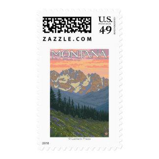 Spring FlowersMontanaVintage Travel Poster Postage Stamp