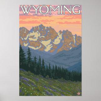 Spring FlowersWyomingVintage Travel Poster