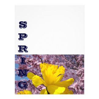 SPRING Flyer paper Daffodil Flower Tree Blossoms
