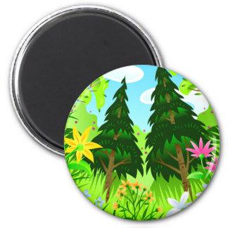 Spring Forest Trees and Flowers Scene Fridge Magnet