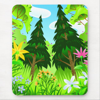 Spring Forest Trees and Flowers Scene Mouse Pad