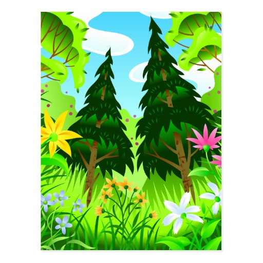 Spring Forest Trees and Flowers Scene Postcard
