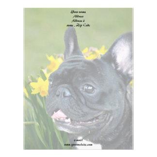 Spring French Bulldog stationary Letterhead