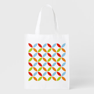 Spring Fresh Abstract Circles and Diamonds Pattern Reusable Grocery Bag