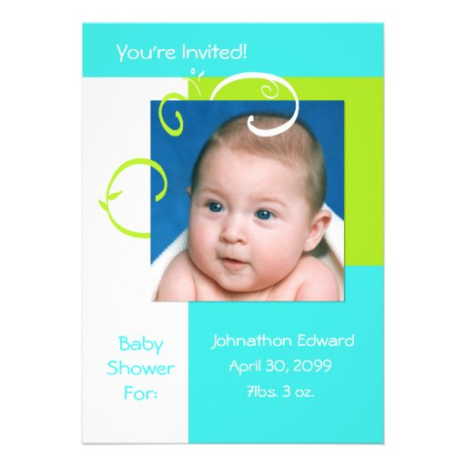 Spring Fresh Photo Baby Shower Cyan Blue And Green Personalized Invitations