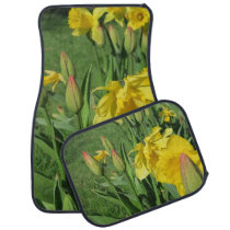 spring, friendly, blossoms, flowers, daffodils, car floor mat