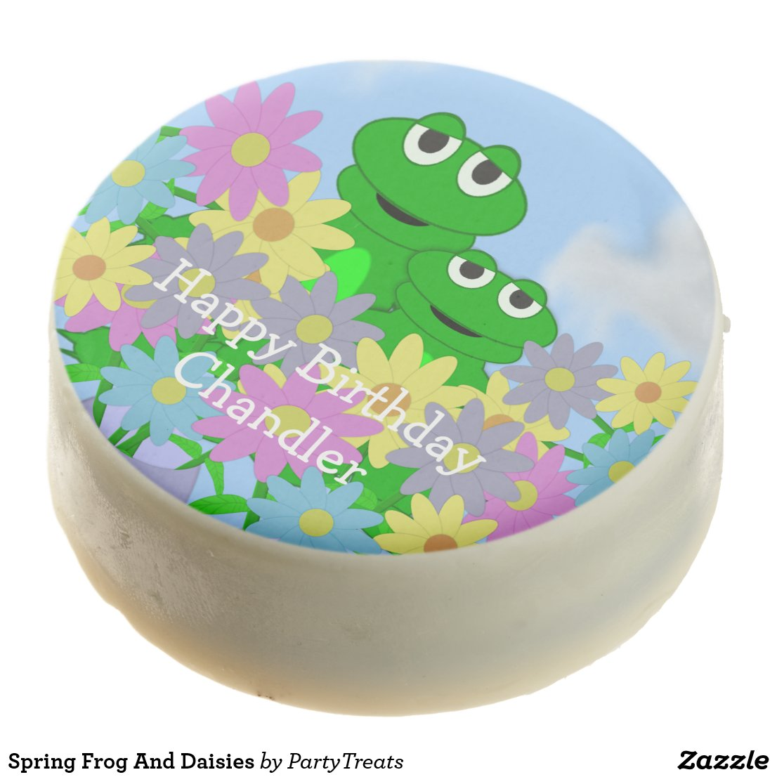 Spring Frog And Daisies Chocolate Covered Oreo