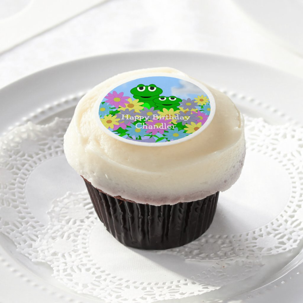 Spring Frog And Daisies Edible Frosting Rounds