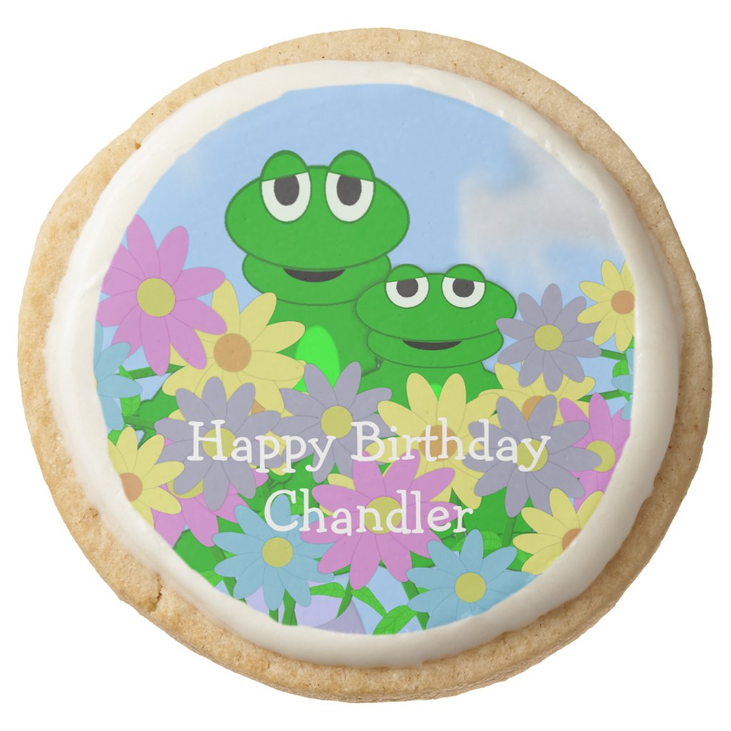 Spring Frog And Daisies Round Shortbread Cookie