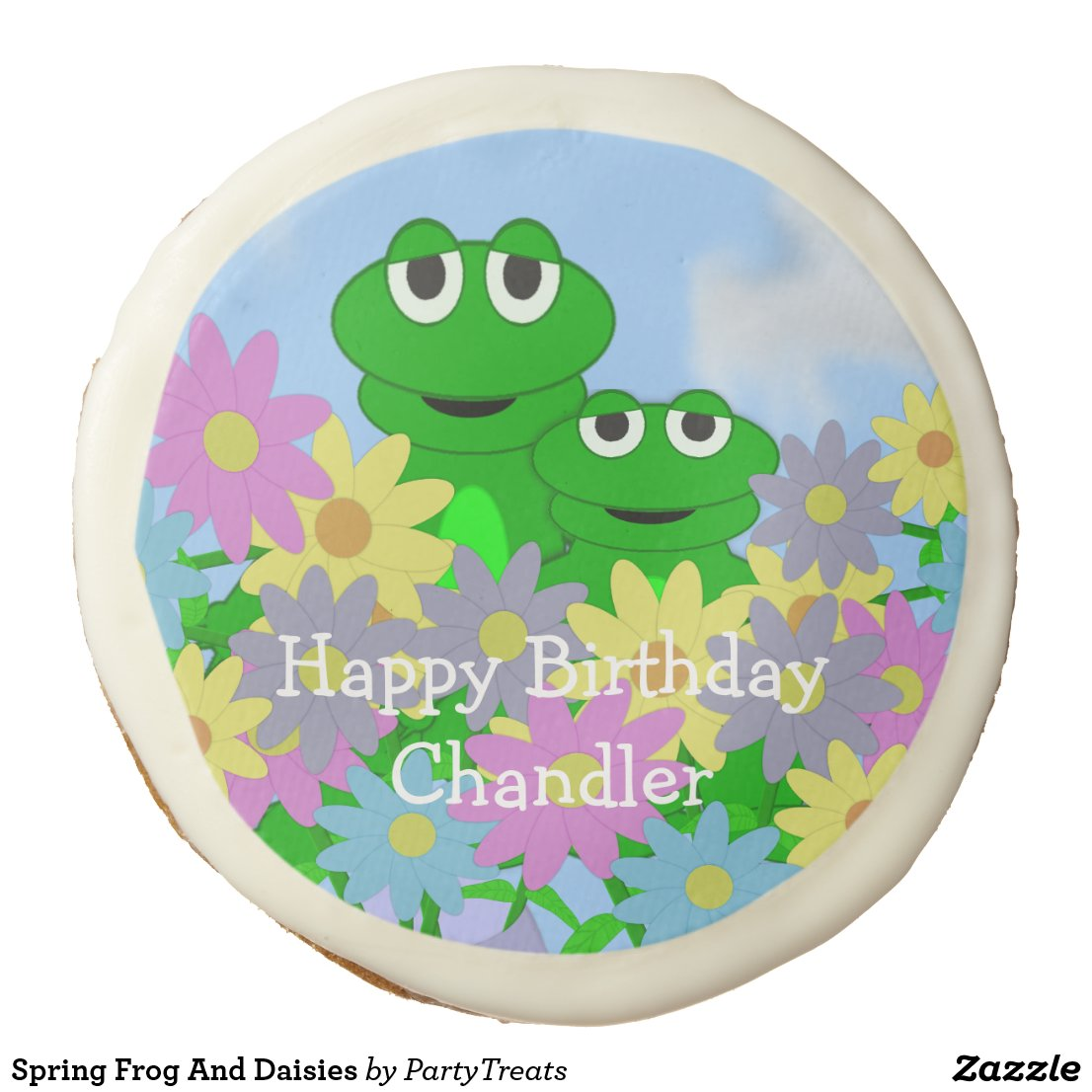Spring Frog And Daisies Sugar Cookie