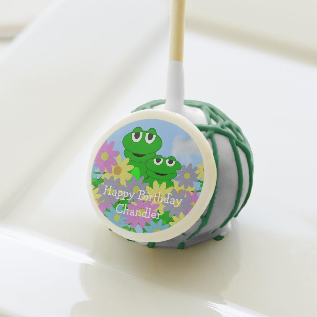 Spring Frog Birthday Cake Pops