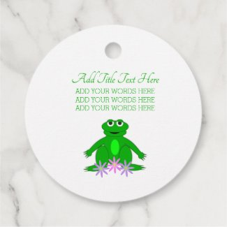 Spring Frog Gingham Personalized Favor Tags