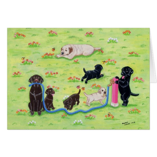 Spring Fun Labradors Painting Card
