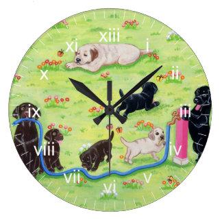 Spring Fun Labradors Painting Large Clock