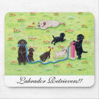 Spring Fun Labradors Painting Mouse Pad