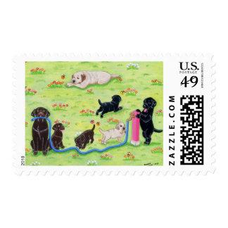 Spring Fun Labradors Painting Postage
