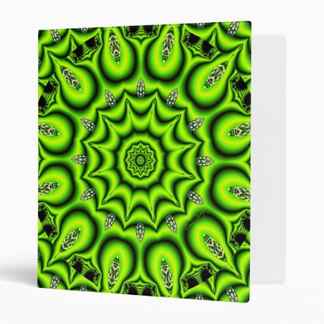 Spring Garden, Bright Abstract Lime Green 3 Ring Binder