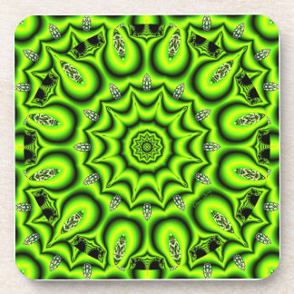 Spring Garden, Bright Abstract Lime Green Beverage Coaster