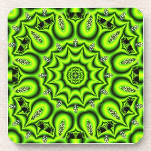 Spring Garden, Bright Abstract Lime Green Drink Coaster