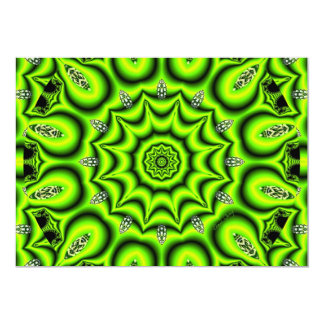 "Spring Garden, Bright Abstract Lime Green 5"" X 7"" Invitation Card"