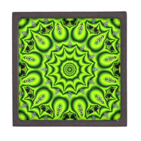 Spring Garden, Bright Abstract Lime Green Jewelry Box