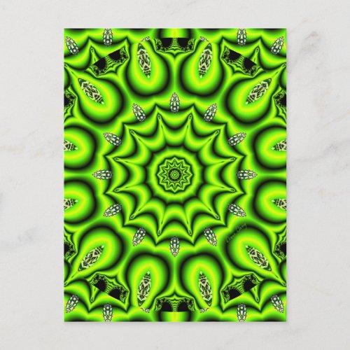 Spring Garden, Bright Abstract Lime Green Postcard
