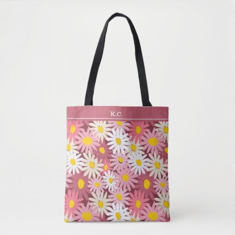 Spring garden daisies monogram name tote bag