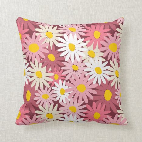 Spring garden daisies pink mulberry throw pillow