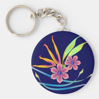 Spring Garden Flowers Basic Round Button Keychain