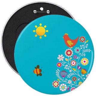 Spring Garden Illustration Round Buttons