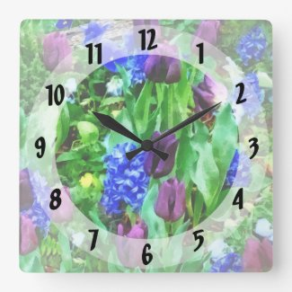 Spring Garden in Shades of Purple Square Wall Clock