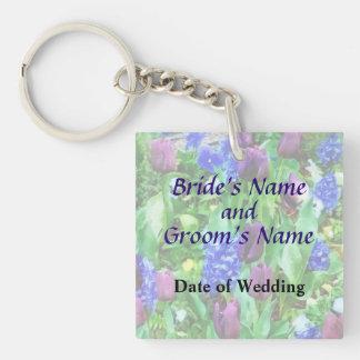 Spring Garden in Shades of Purple Wedding Products Keychain