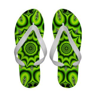 Spring Garden Mandala, Bright Abstract Green Sandals